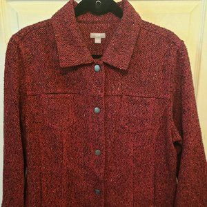 J Jill Red Tweed Snap Button Long Sleeve Jacket